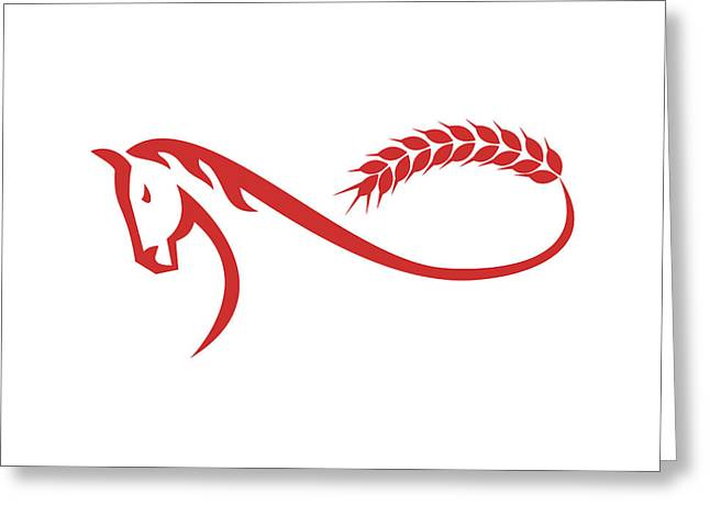 Horse Malt Tail Mobius Strip Retro Greeting Card