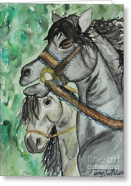 Horse Meets Carousel Pony Greeting Card by Jamey Balester