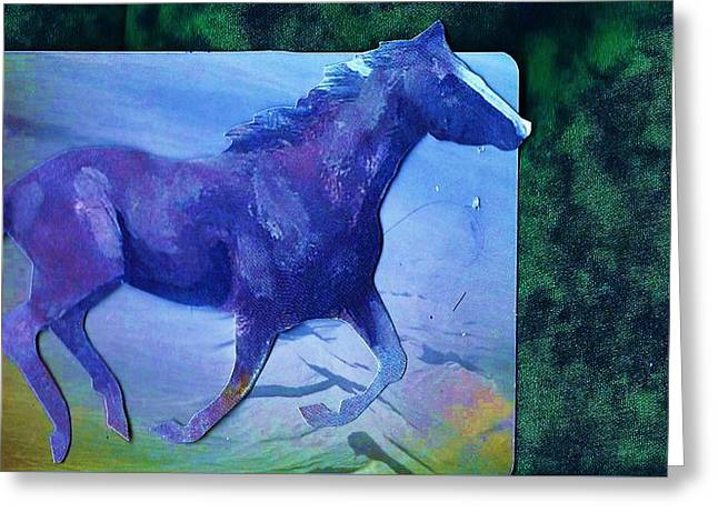 Horse  Of Blues Collage Greeting Card