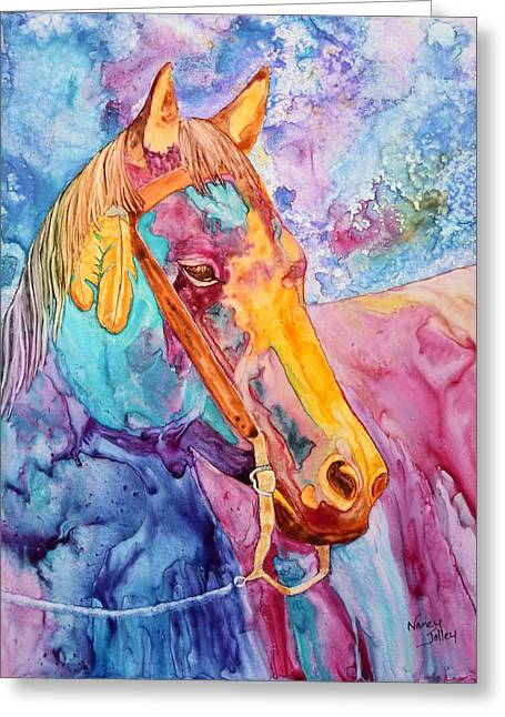 Horse Of Many Colors Greeting Card by Nancy Jolley