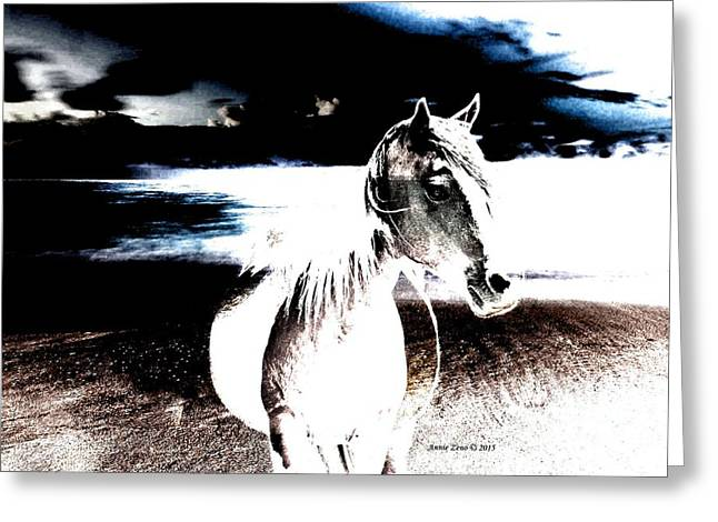 Horse On Stormy Beach Greeting Card