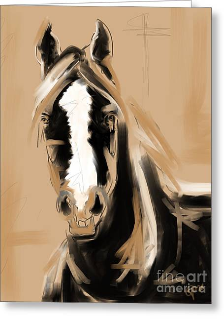 Horse Paint White Greeting Card by Go Van Kampen