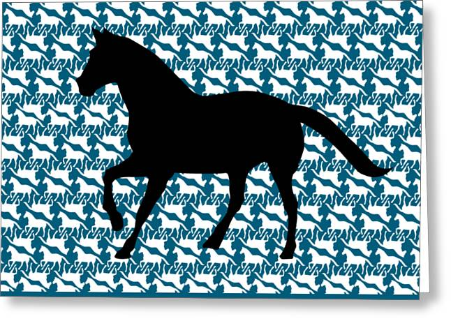 Horse Pattern With Large Horse On Blue Background Greeting Card