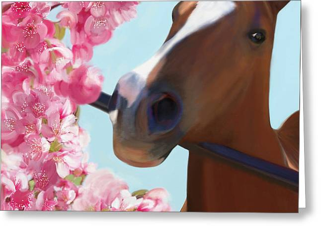 Horse Pink Blossoms Greeting Card