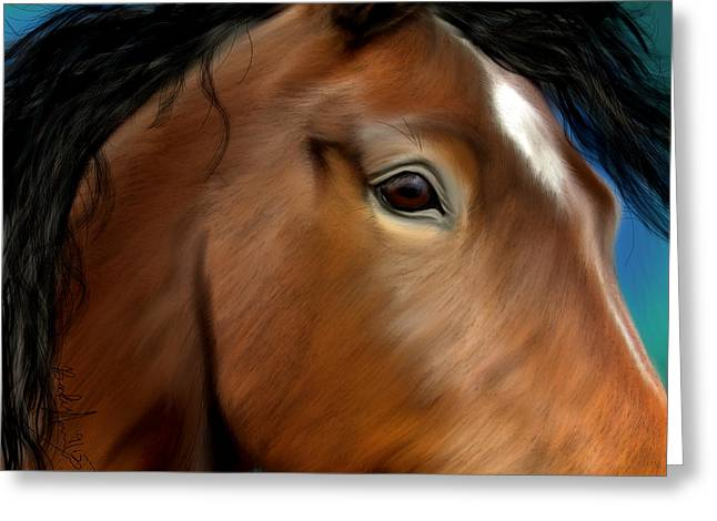 Horse Portrait Close Up Greeting Card