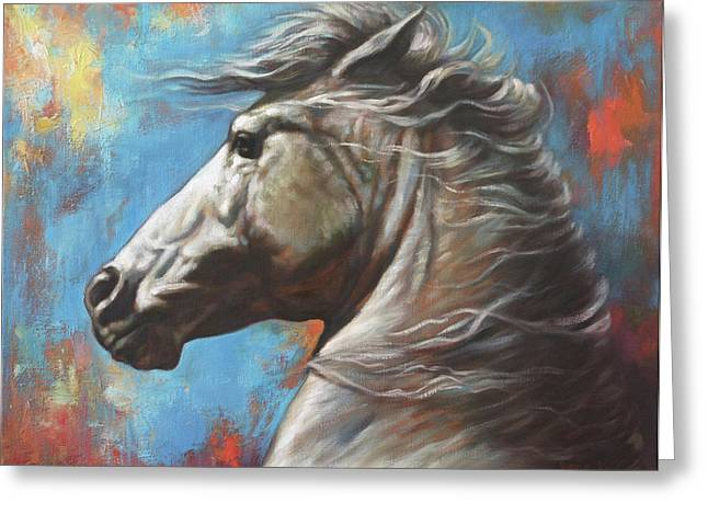 White Paintings Greeting Cards - Horse Power Greeting Card by Harvie Brown