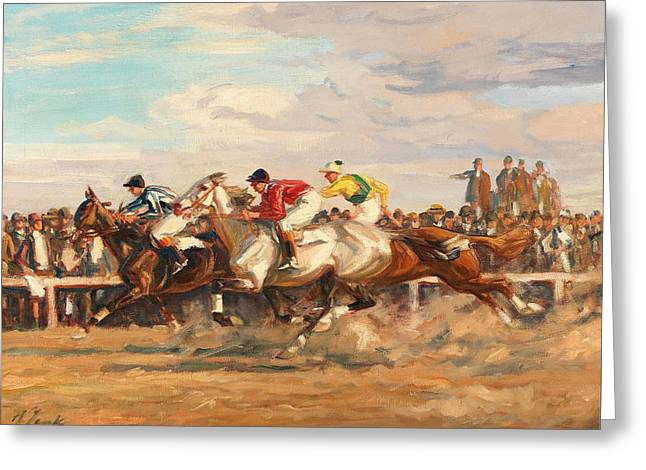 Horse Race Greeting Card by Celestial Images
