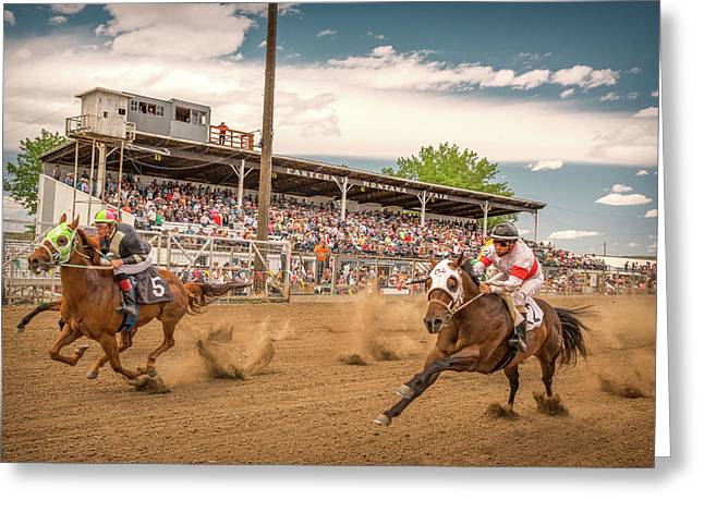 Horse Race Greeting Card by Todd Klassy