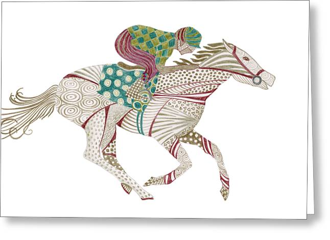 Horse Racer Greeting Card by Amy Kirkpatrick