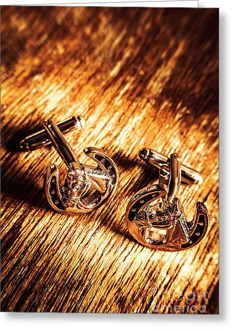 Horse Racing Cuff Links Greeting Card