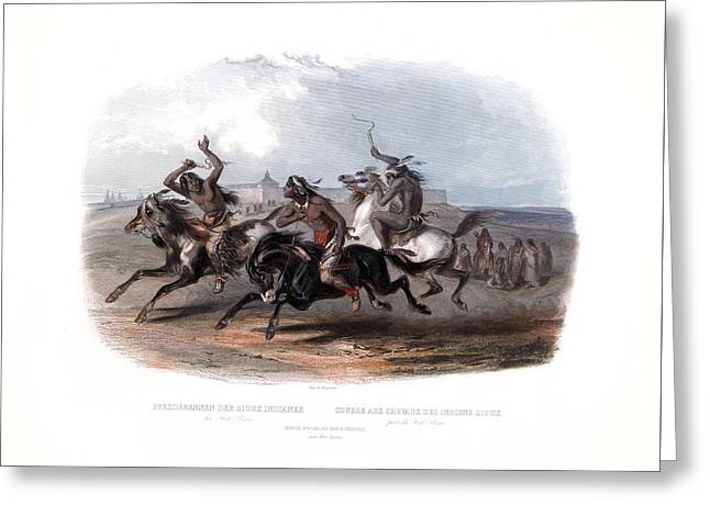 Horse Racing Of The Sioux Indians Wall Art Prints Greeting Card