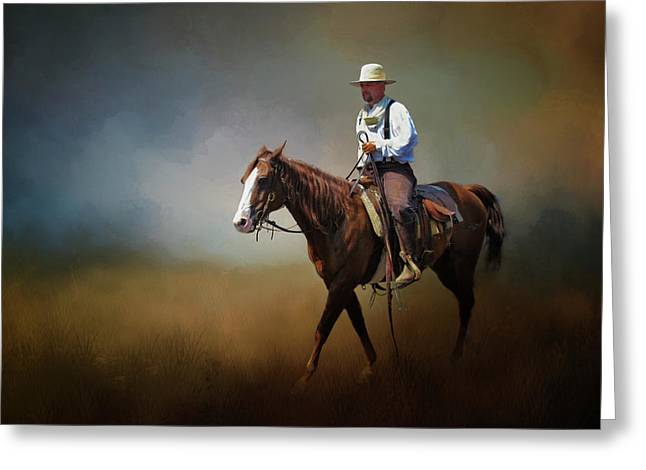 Greeting Card featuring the photograph Horse Ride At The End Of Day by David and Carol Kelly