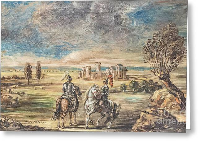Horse Riders And Landscape By Giorgio De Chirico Greeting Card by Roberto Morgenthaler