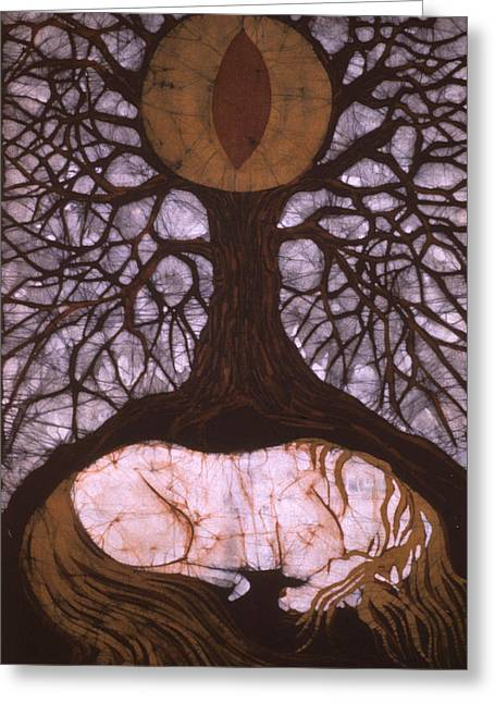 Roots Tapestries - Textiles Greeting Cards - Horse Sleeps Below Tree of Rebirth Greeting Card by Carol  Law Conklin