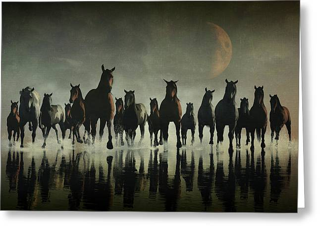 Horse Stampede In The Sea Greeting Card