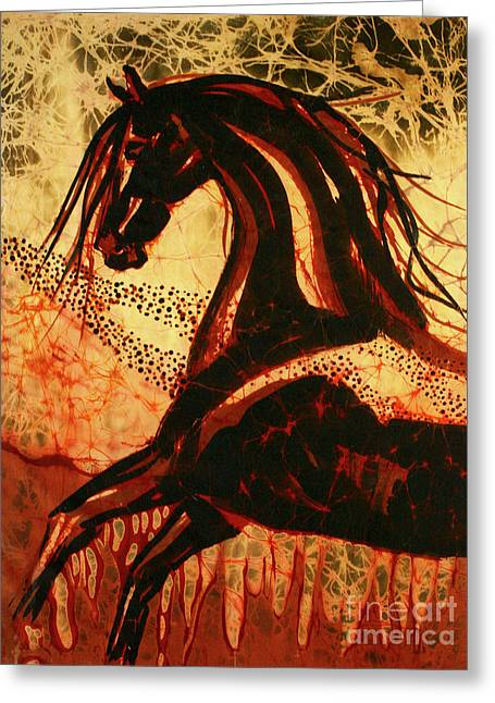 Earth Tapestries - Textiles Greeting Cards - Horse Through Web of Fire Greeting Card by Carol Law Conklin