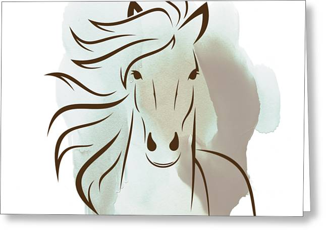 Horse Wall Art - Elegant Bright Pastel Color Animals Greeting Card by Wall Art Prints