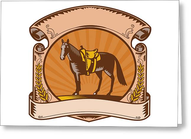 Horse Western Saddle Scroll Woodcut Greeting Card