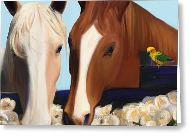 Horse Whispers  Greeting Card by Julianne  Ososke