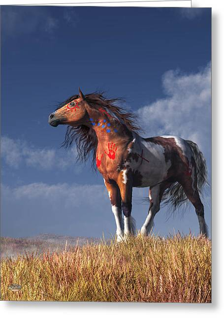 Horse With War Paint Greeting Card by Daniel Eskridge
