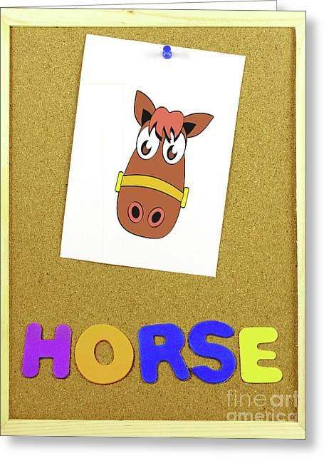 Horse Word On A Corkboard Greeting Card