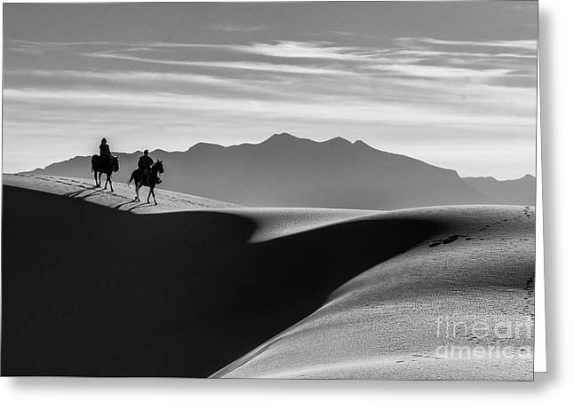 Horseback At White Sands Greeting Card