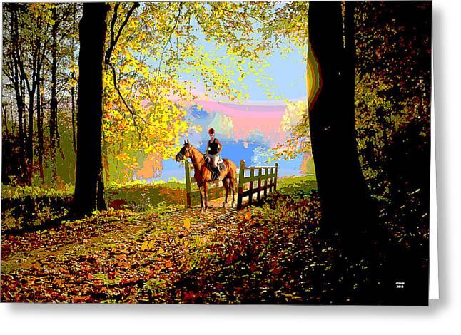 Horseback Riding Greeting Card by Charles Shoup