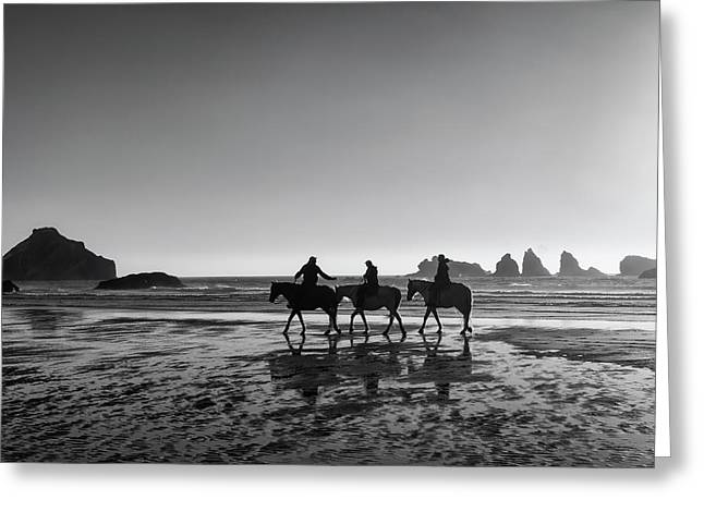Horseback Storytelling Black And White Greeting Card by Mark Kiver