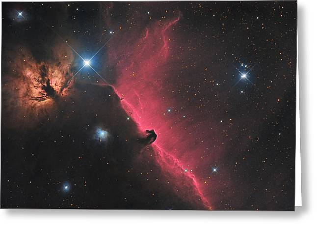 Horsehead And Flame Nebula In Constellation Orion Greeting Card by Lukasz Szczepanski
