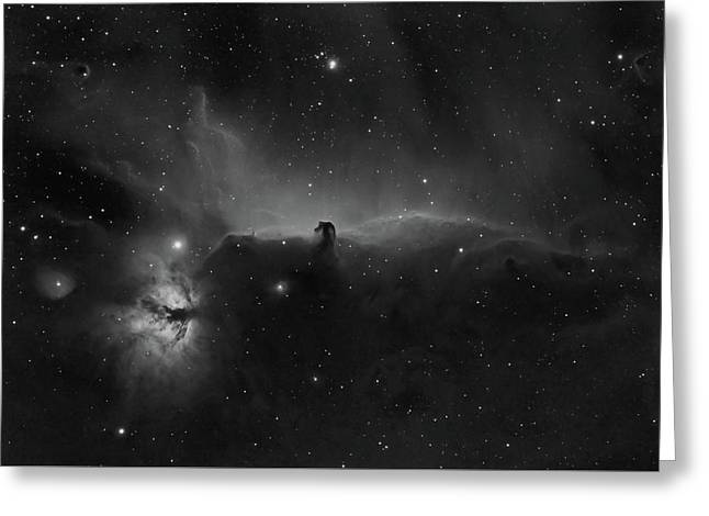 Horsehead And Flame Nebulae In Orion Constellation Greeting Card by Pawel Radomski