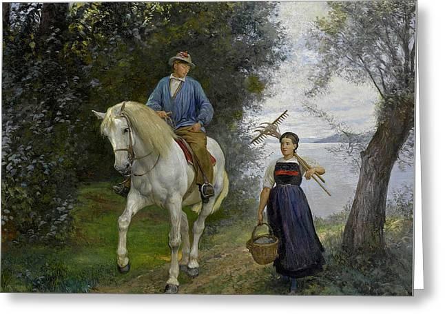 Horseman At A Lake Greeting Card