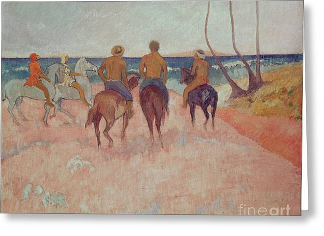 Horseman Greeting Cards - Horseman on the Beach Greeting Card by Paul Gauguin