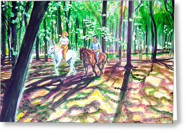 Horsemen In Wood Greeting Card by Aymeric NOA