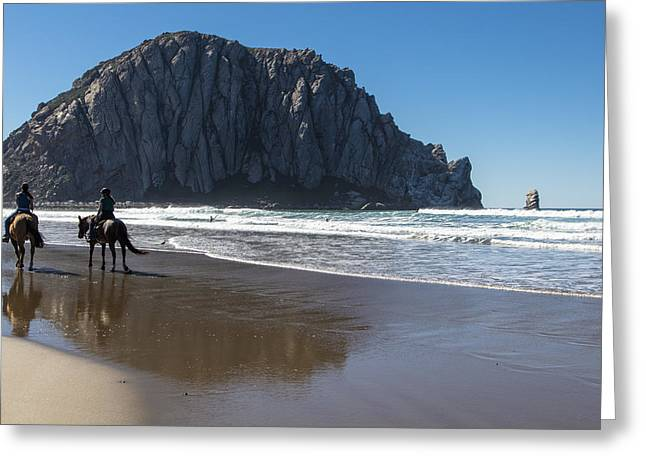 Horses And Morro Rock Greeting Card by John McGraw