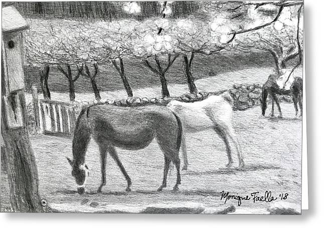 Horses And Trees In Bloom Greeting Card