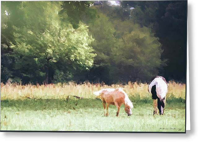 Greeting Card featuring the photograph Horses by Andrea Anderegg