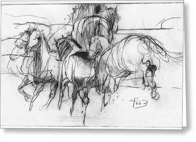 Horses-drypoint Greeting Card by Tony Belobrajdic