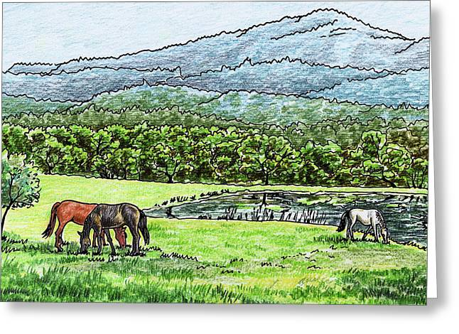 Horses Grazing Valley And Mountains Landscape Greeting Card