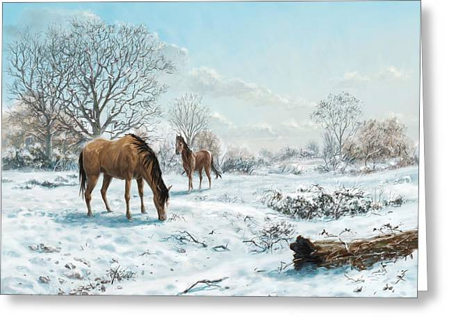 Horses In Countryside Snow Greeting Card