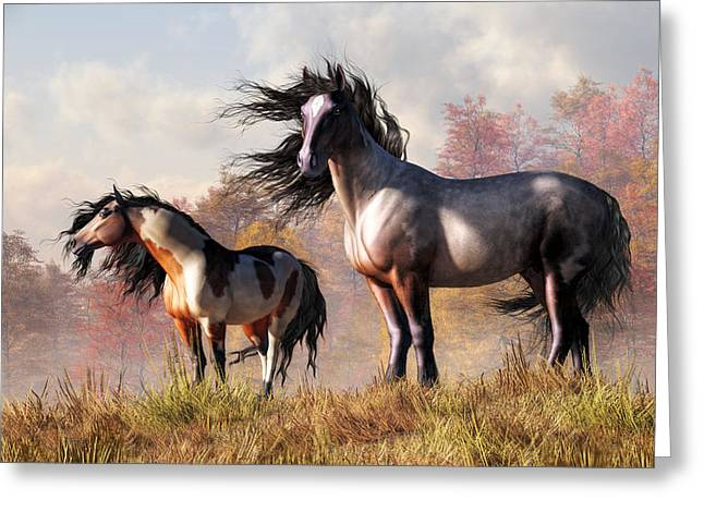 Greeting Card featuring the digital art Horses In Fall by Daniel Eskridge