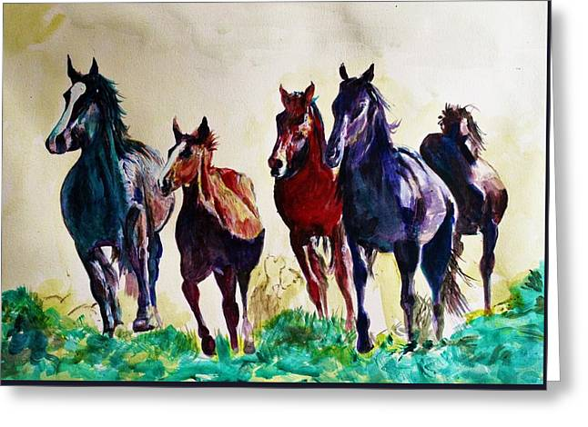 Horses In Wild Greeting Card