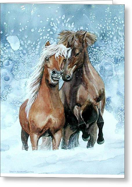 Horses In Winter Greeting Card by Virginia Sonntag