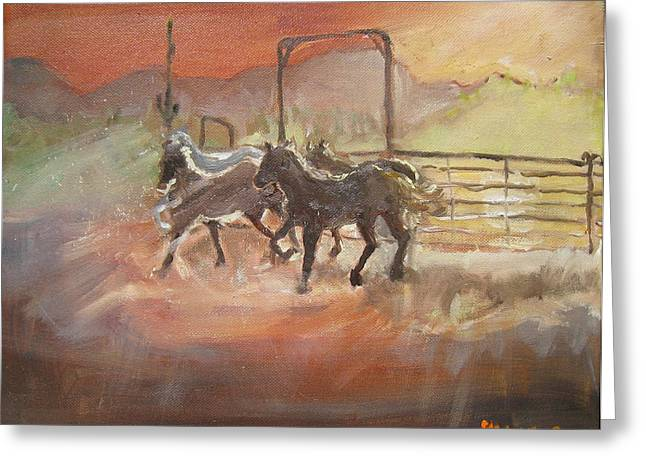 Greeting Card featuring the painting Horses by Julie Todd-Cundiff