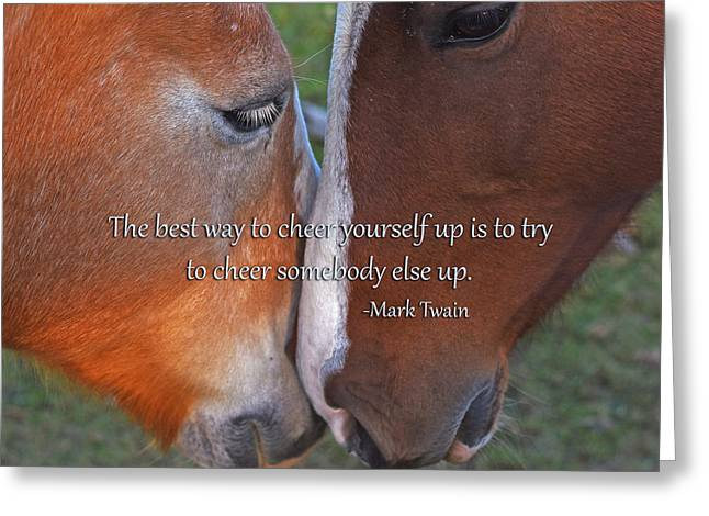 Horses Nuzzling Saying Greeting Card by Toby McGuire