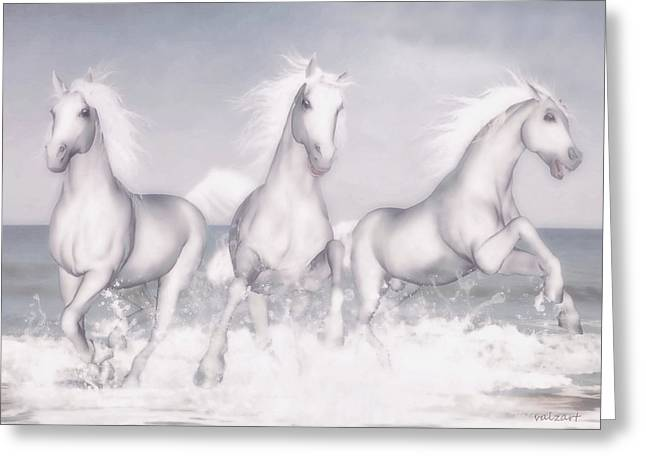 Horses Of The Camargue Greeting Card by Valerie Anne Kelly