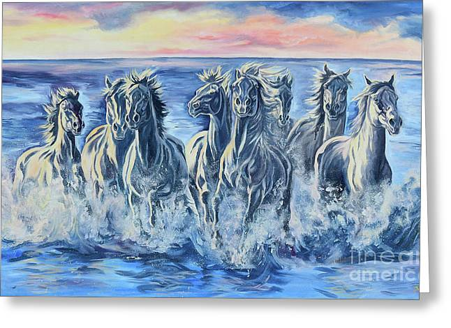 Horses Of The Sea Greeting Card by Jana Goode