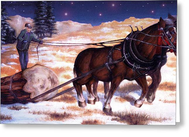 Horses Pulling Log Greeting Card