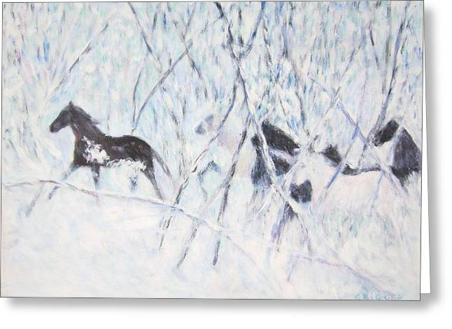 Horses Running In Ice And Snow Greeting Card
