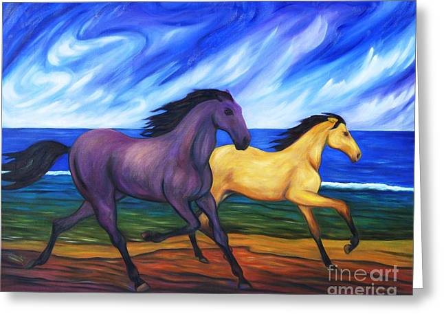Horses Running On The Beach Greeting Card