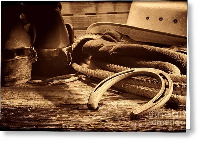 Horseshoe And Cowboy Gear Greeting Card